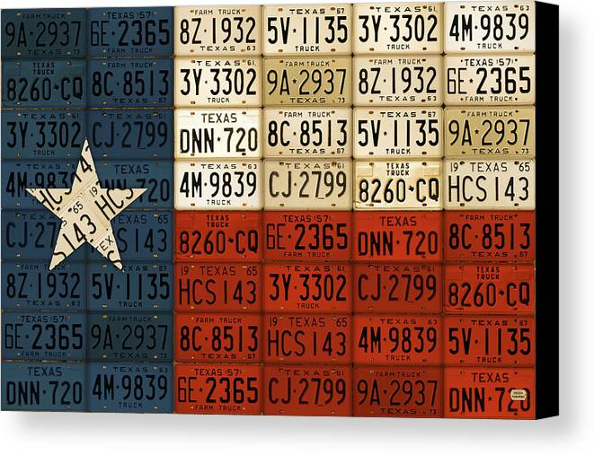 Texas Flag The Lone Star State License Plate Art Canvas