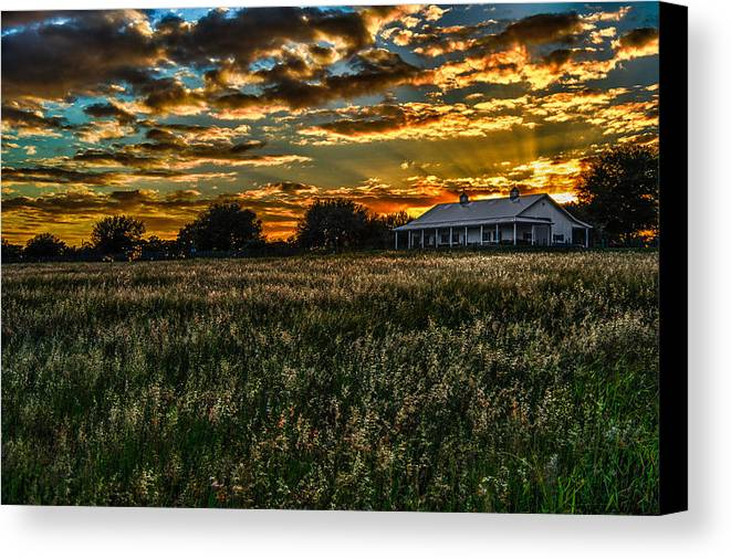 Barn Canvas Print featuring the photograph The Barn At Sunset by Scott Mullin