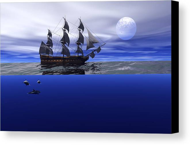 Bryce Canvas Print featuring the digital art The Blue Deep by Claude McCoy