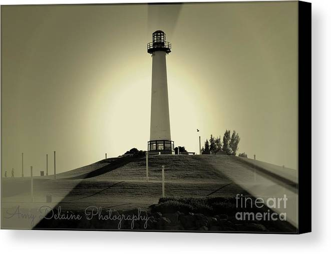 Canvas Print featuring the photograph The Brightly Lit Lighthouse by Amy Delaine