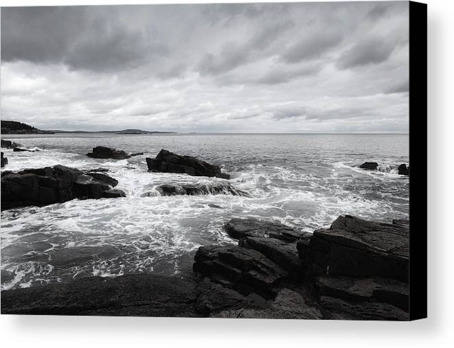 Cloud Canvas Print featuring the painting The Cloudy Day In Acadia National Park Maine by Paul Ge