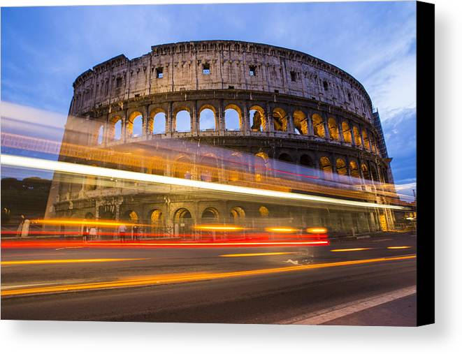 Flavian Canvas Print featuring the photograph The Colosseum-blue Hour by Mircea Costina Photography