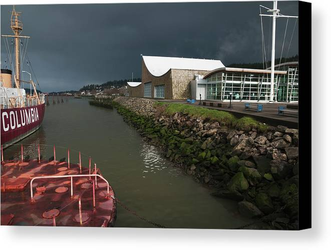 Storm Canvas Print featuring the photograph The Columbia River Maritime Museum Sits by Robert L. Potts