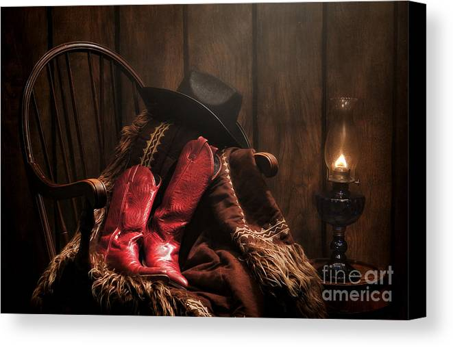 Cowgirl Boots Canvas Print featuring the photograph The Cowgirl Rest by Olivier Le Queinec