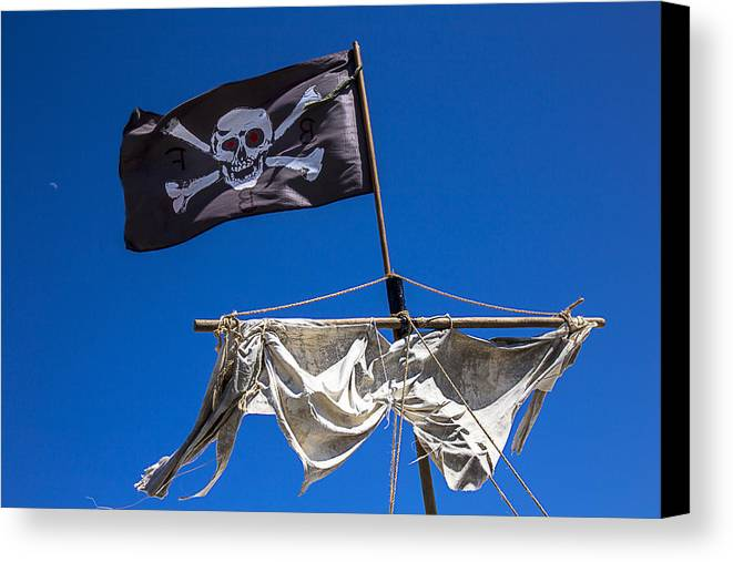 Pirate Flag Skull Banner Piracy Scull Robbers Terror Terrorist F Canvas Print featuring the photograph The Death Flag by Garry Gay