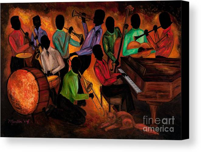 Cat Canvas Print featuring the painting The Gitdown Hoedown by Larry Martin