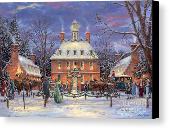 Williamsburg Canvas Print featuring the painting The Governor's Party by Chuck Pinson