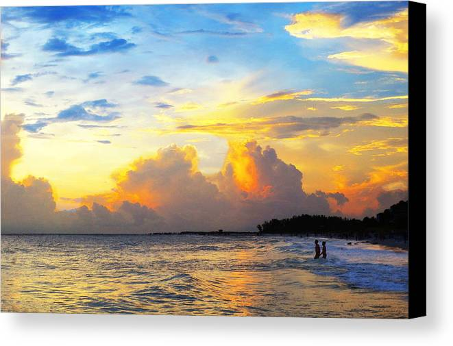 Sunset Canvas Print featuring the painting The Honeymoon - Sunset Art By Sharon Cummings by Sharon Cummings