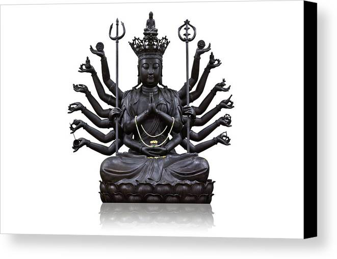 Angel Canvas Print featuring the photograph The Images Of Guanyin Black by Tosporn Preede