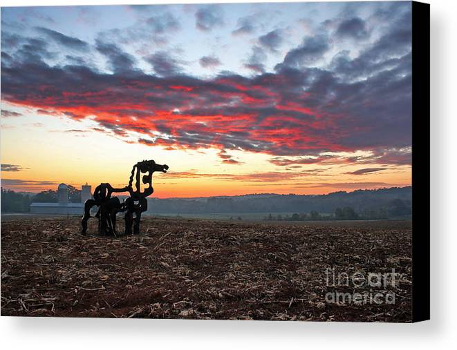 The Iron Horse Canvas Print featuring the photograph The Iron Horse Early Dawn The Iron Horse Collection Art by Reid Callaway