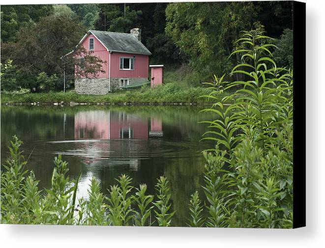 Wayne Letsch Strawberry Hill Nature Preserve Pink Cabin Pond Adams County Pa Fairfield Pa Pennsylvania Reflection Ripple Ripples Landscape Canvas Print featuring the photograph The Little Pink Cabin With Ripples by Wayne Letsch