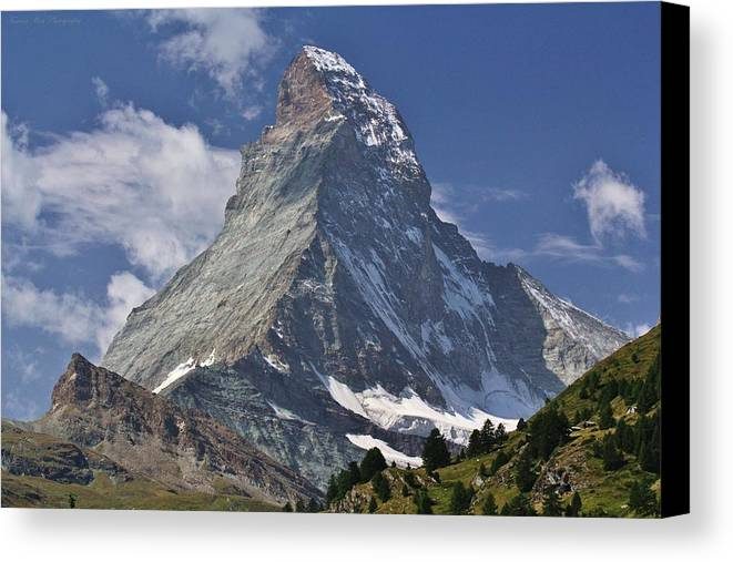 Switzerland Canvas Print featuring the photograph The Matterhorn by David Broome