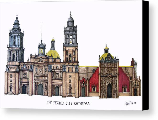 Pen And Ink Drawings Canvas Print featuring the drawing The Mexico City Cathedral by Frederic Kohli