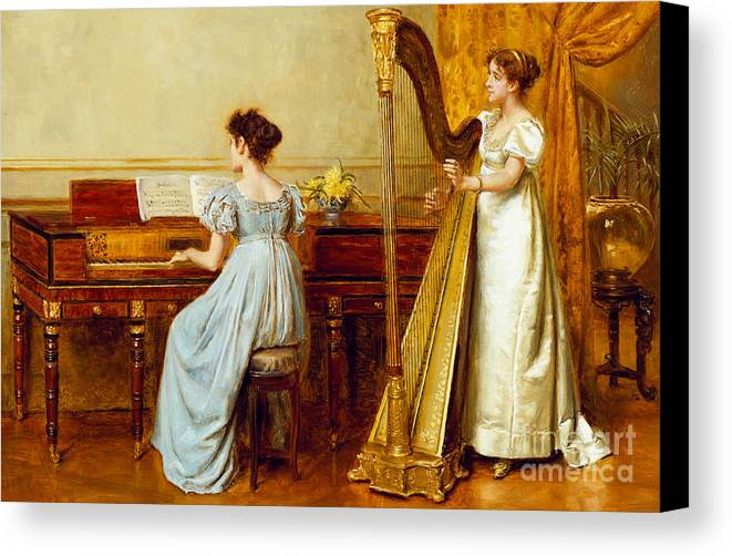 Music; Room; Interior; Female; Musician; Musicians; 19th; 20th; Harp; Harpist; Piano; Pianist; Musical Instrument; Instruments; Recital; Playing; Performing Canvas Print featuring the painting The Music Room by George Goodwin Kilburne