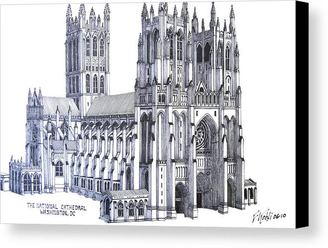 Ink Drawings Canvas Print featuring the drawing The National Cathedral by Frederic Kohli