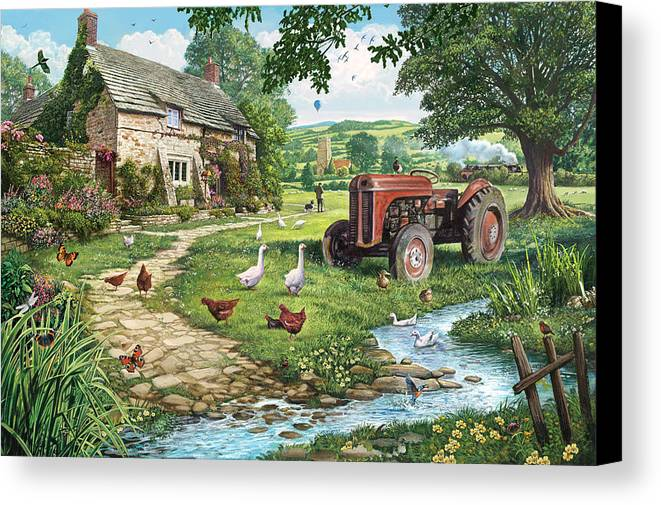 Architecture Canvas Print featuring the photograph The Old Tractor by Steve Crisp