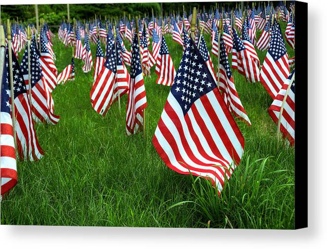 Flag Canvas Print featuring the photograph The Red White And Blue American Flags by Donna Doherty