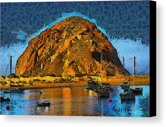Barbara Snyder Canvas Print featuring the photograph The Rock At Morro Bay Abstract by Barbara Snyder