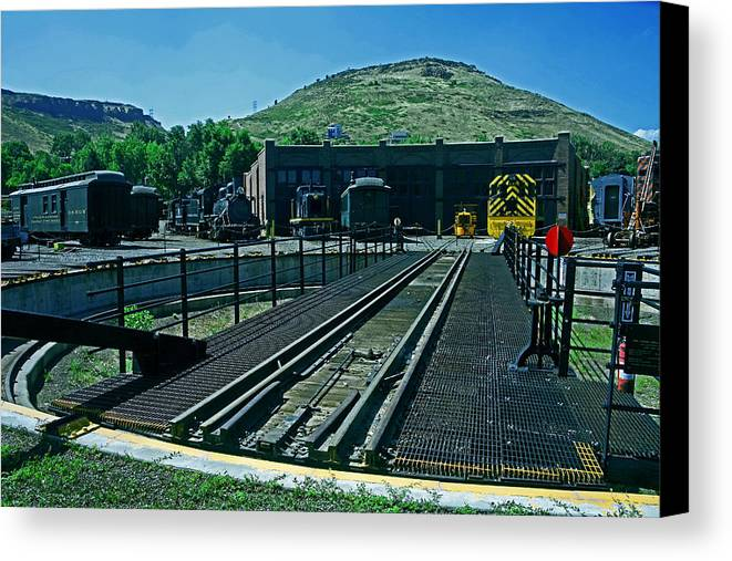 Baggage Car Canvas Print featuring the photograph The Turntable by Mike Flynn
