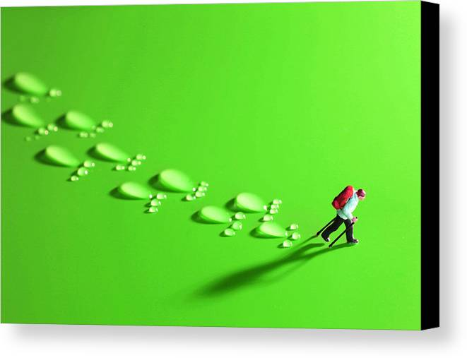 Toy Canvas Print featuring the photograph The Walker And Footprints Little People Big World by Paul Ge
