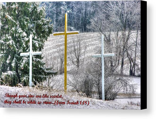 Maryland Canvas Print featuring the photograph Though Your Sins Are Like Scarlet - They Shall Be White As Snow - From Isaiah 1.18 by Michael Mazaika