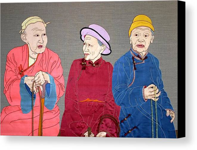 Textile Canvas Print featuring the mixed media Three Mongolians by Leslie Rinchen-Wongmo