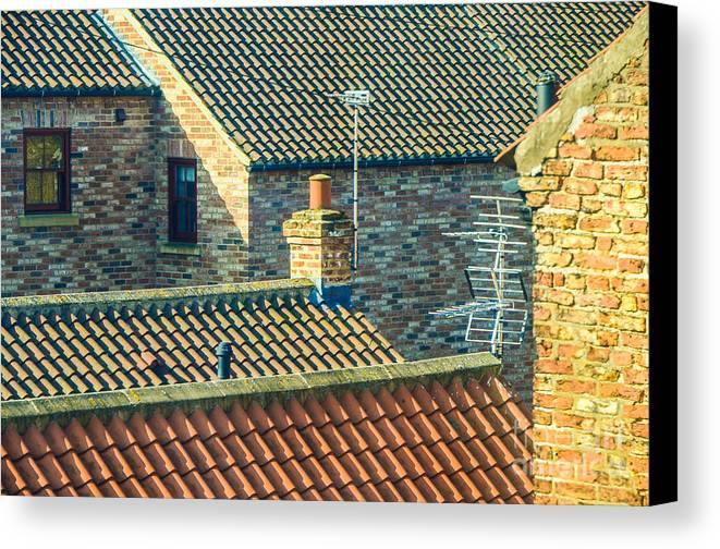 Aerial Canvas Print featuring the photograph Tile Roofs - Thirsk England by Mary Carol Story