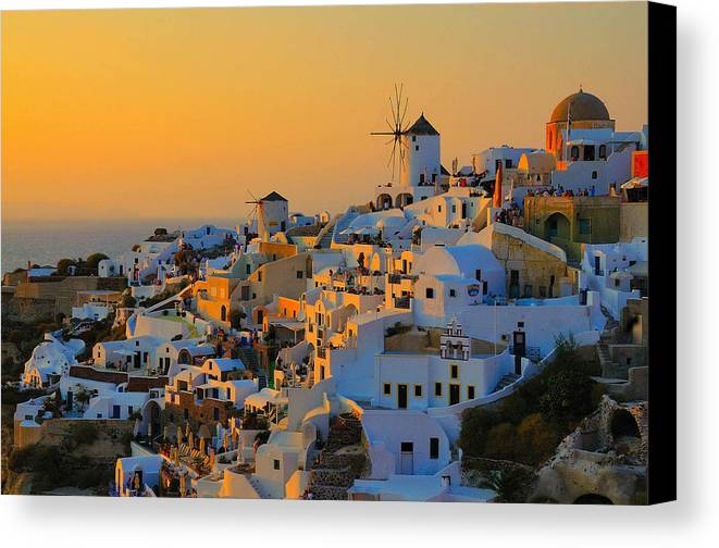 Santorini Canvas Print featuring the photograph Time Forgot by Jim Southwell