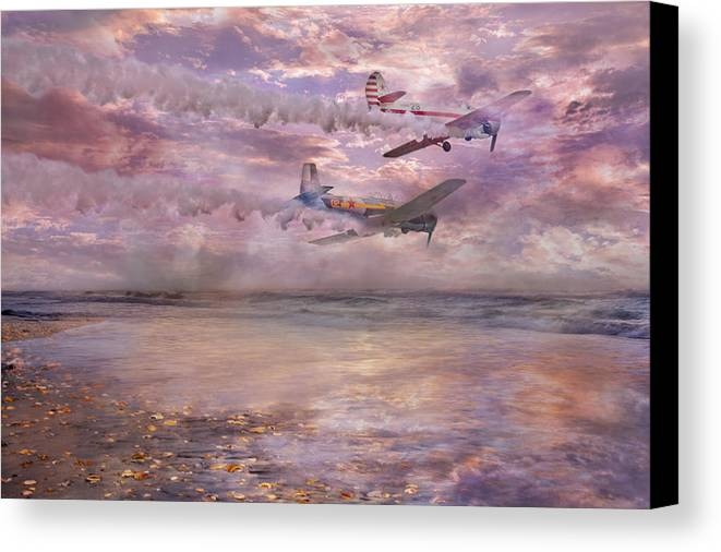 Beach Canvas Print featuring the digital art Topsail Flyers by Betsy Knapp
