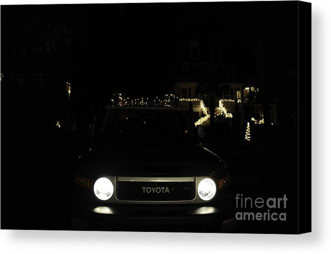 Toyota Canvas Print featuring the photograph Toyota Fj Holiday Lights by Dale Powell