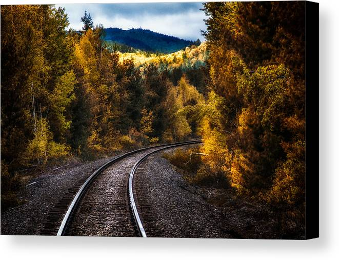 Trains Canvas Print featuring the photograph Tracks Through The Mountains by Bob Orsillo