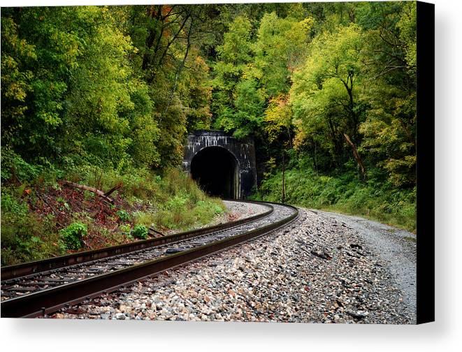 Train Canvas Print featuring the photograph Train Tunnel by Lj Lambert