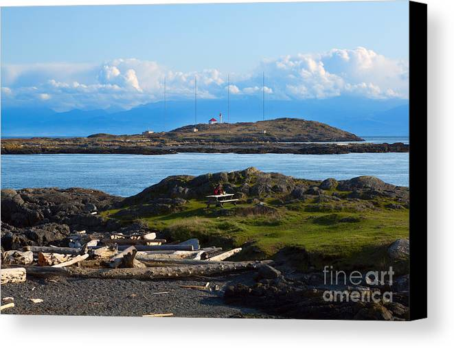 Trial Island Canvas Print featuring the photograph Trial Island And The Strait Of Juan De Fuca by Louise Heusinkveld