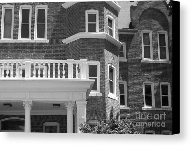 Trims Canvas Print featuring the photograph Trims And Courses Black And White by Laurie Eve Loftin