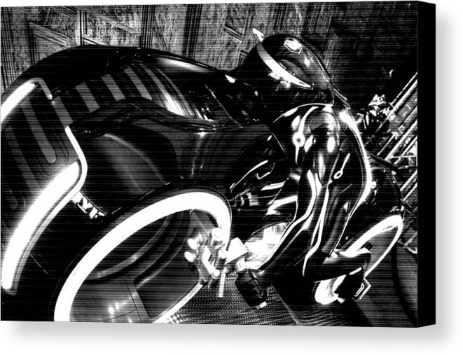 Tron Canvas Print featuring the photograph Tron Motor Cycle by Michael Hope