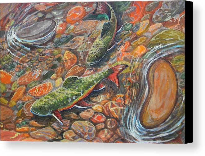 Trout Canvas Print featuring the painting Trout Stream by Jenn Cunningham