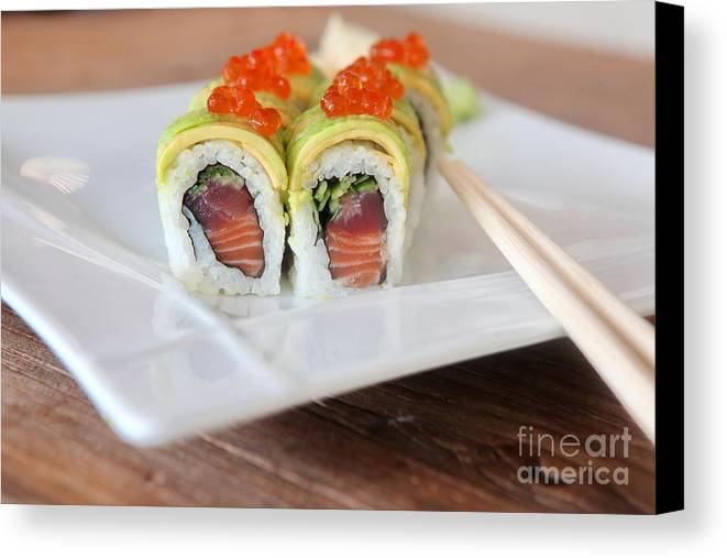 Insideout Canvas Print featuring the photograph Tuna Sushi With Caviar by Oren Shalev