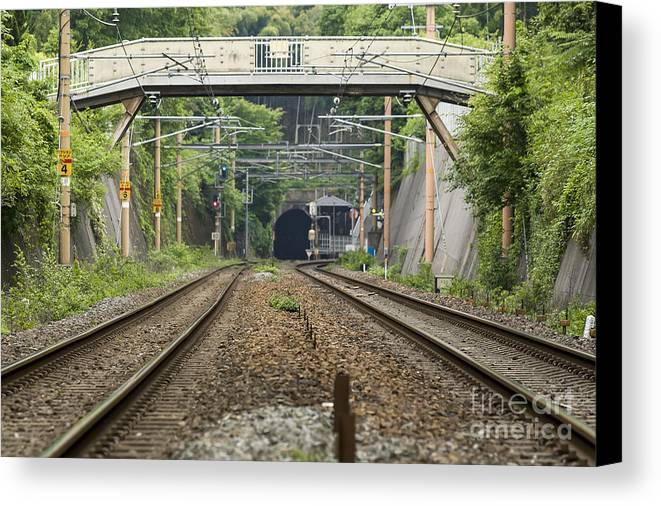Railroad Canvas Print featuring the photograph Tunnel by Scott Kerrigan