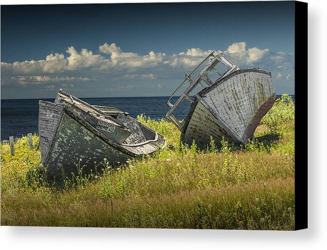 Boat Canvas Print featuring the photograph Two Forlorn Abandoned Boats On Prince Edward Island by Randall Nyhof