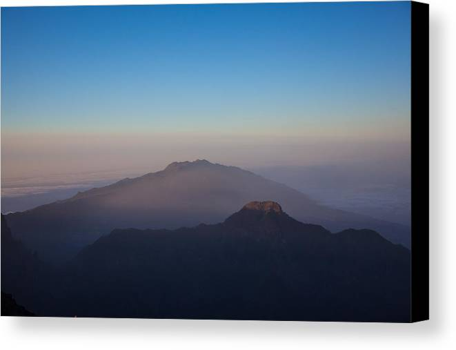 La Palma Canvas Print featuring the photograph Two Mountains In The Morning by Ralf Kaiser