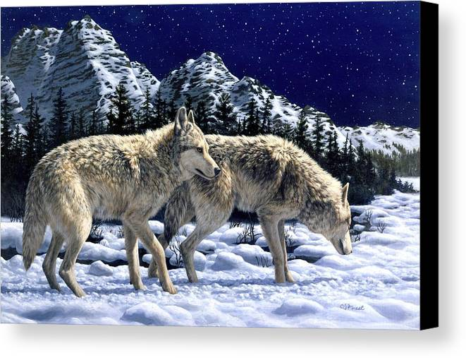 Wolf Canvas Print featuring the painting Wolves - Unfamiliar Territory by Crista Forest