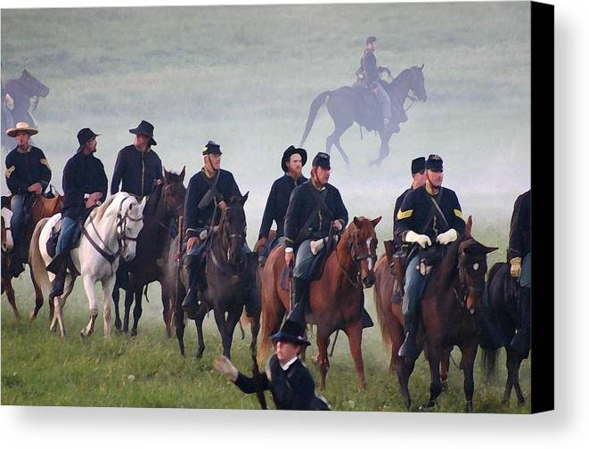 American Canvas Print featuring the photograph Union Cavalry On The March - Perryville Ky by Thia Stover