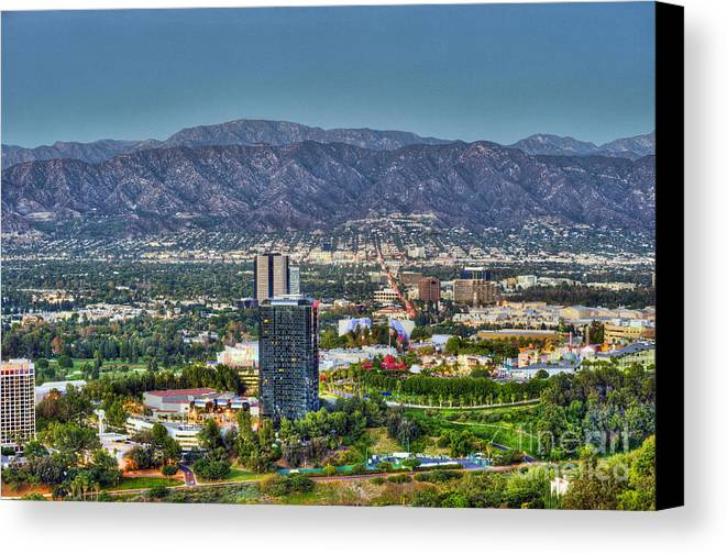 Universal City Canvas Print featuring the photograph Universal City Warner Bros Studios Clear Day by David Zanzinger