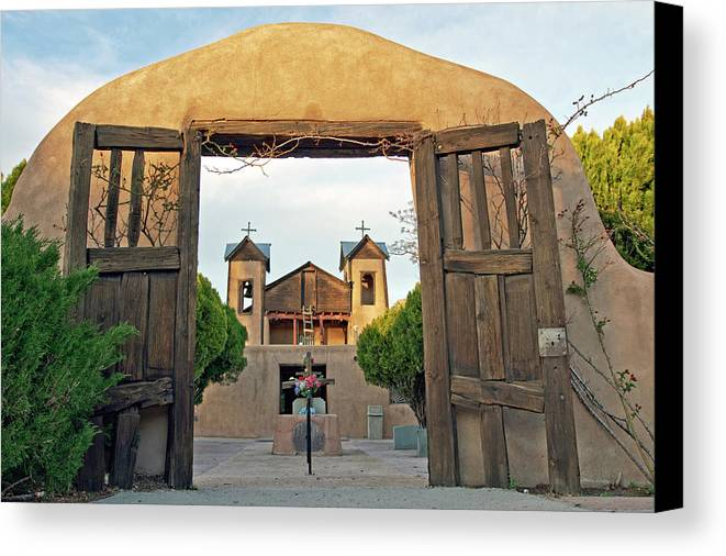 Adobe Canvas Print featuring the photograph Usa, New Mexico, Chimayo, The Chimayo by Luc Novovitch