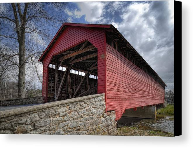 Utica Mills Canvas Print featuring the photograph Utica Mills Covered Bridge by Joan Carroll