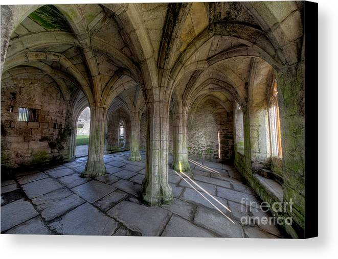 Abbey Canvas Print featuring the photograph Valle Crucis Chapter House by Adrian Evans