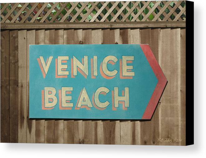 Sign Canvas Print featuring the painting Venice Beach Sign by Bill Jonas