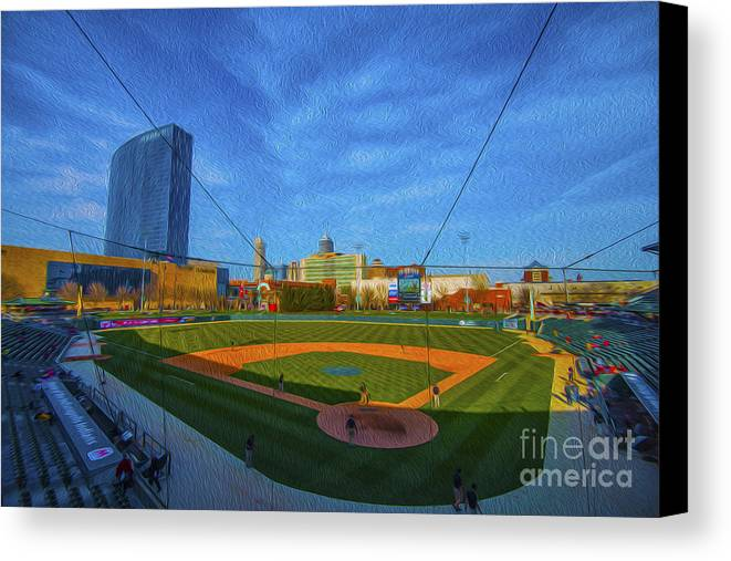 Victory Field Canvas Print featuring the photograph Victory Field Home Plate by David Haskett