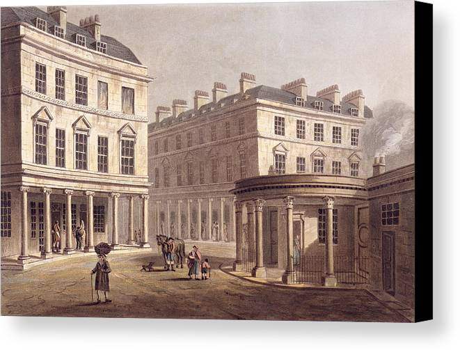 Architecture Canvas Print featuring the drawing View Of Cross Bath, Bath Street by John Claude Nattes