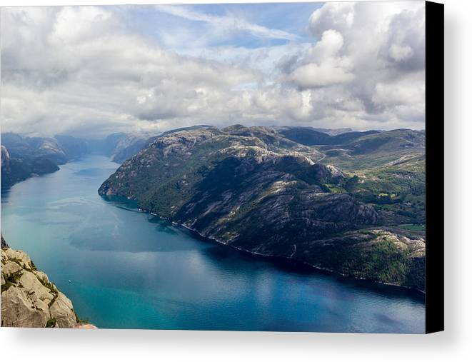 Norway Canvas Print featuring the photograph View Of Lysefjord From Preikestolen by Aldona Pivoriene